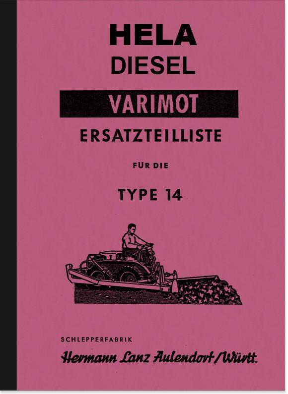 Hela (Hermann Lanz) Varimot Type 14 Spare Parts List Spare Parts Catalogue Parts Catalogue