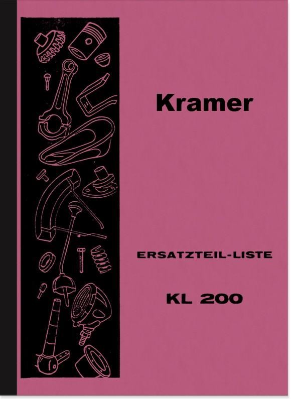 Kramer KL 200 Ersatzteilliste Ersatzteilkatalog Teilekatalog Dieselschlepper Traktor