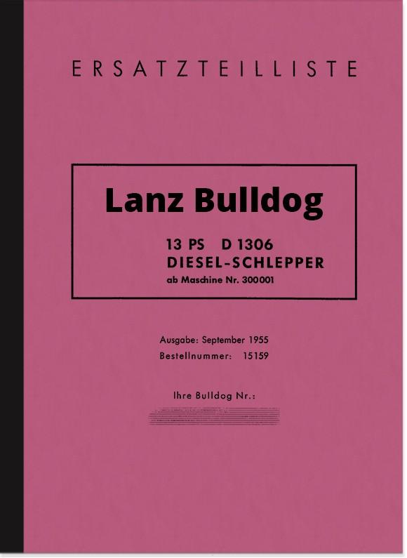 Lanz Bulldog D 1306 (13 PS) Ersatzteilliste Ersatzteilkatalog Teilekatalog D1306