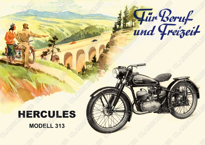 Hercules model 313 motorcycle Poster Picture