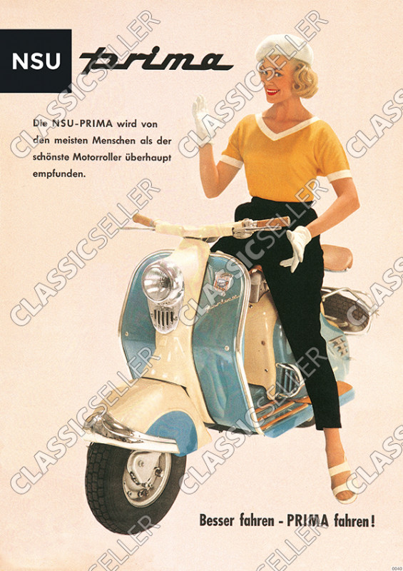 "NSU Prima ""Woman on blue/white scooter"" Poster Picture"
