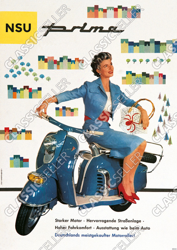 "NSU Prima ""Woman on blue scooter"" Poster Picture"