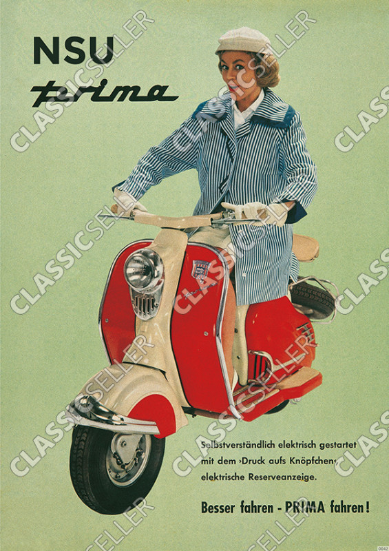 "NSU Prima ""Woman on red scooter"" Poster Picture"