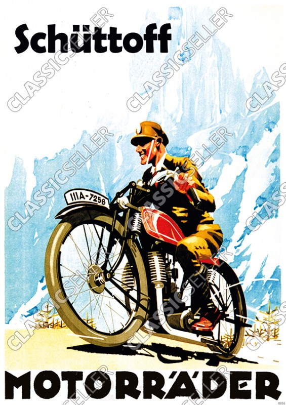 Schüttoff Motorcycles Model F E G H M Motorcycle Poster Picture