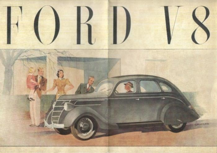Ford V8 Prospekt Broschüre 1938 Sport Cabrio