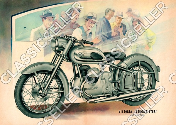 "Victoria Bergmeister V 35 ""With sports tank"" Motorcycle Poster Picture"