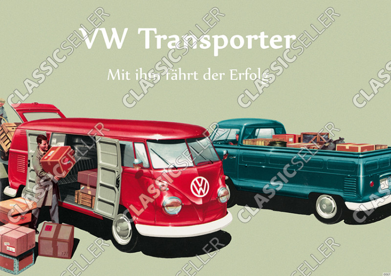 "VW Bulli Bus Transporter T1 ""Success drives with him"" Poster image"