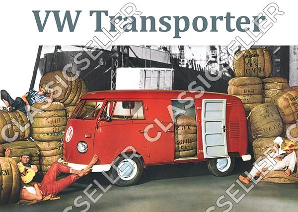 """VW Bulli Bus Transporter T1 """"Arbeiter"""" Poster Plakat Bild"""