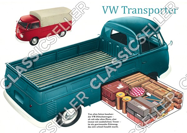 VW Bulli Bus Transporter T1 Pritschenwagen Poster Plakat Bild