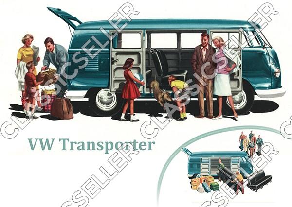 """VW Bulli Bus Transporter T1 """"Familie"""" Poster Plakat Bild"""