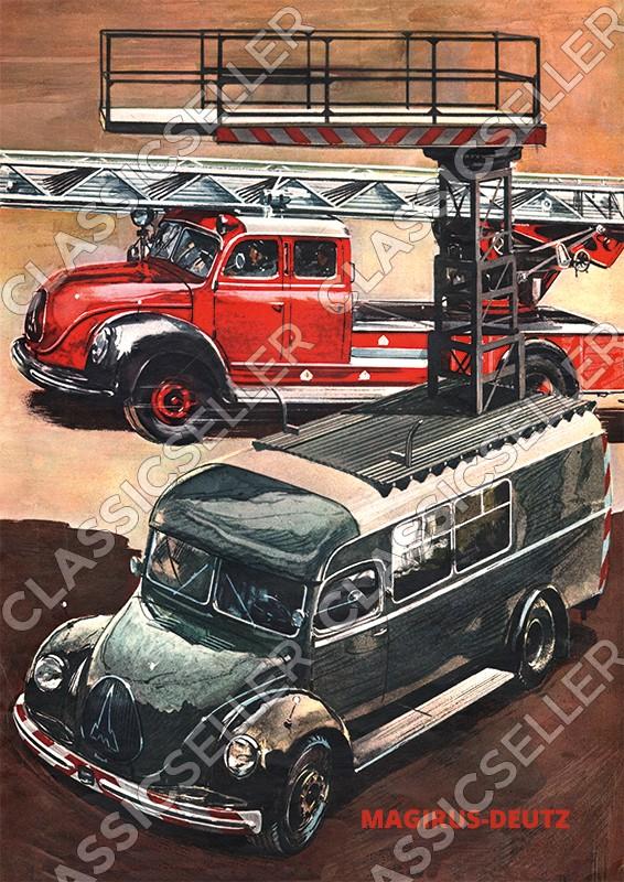 Magirus-Deutz LKW Lastwagen Nutzfahrzeug Leiterwagen Poster Plakat Bild