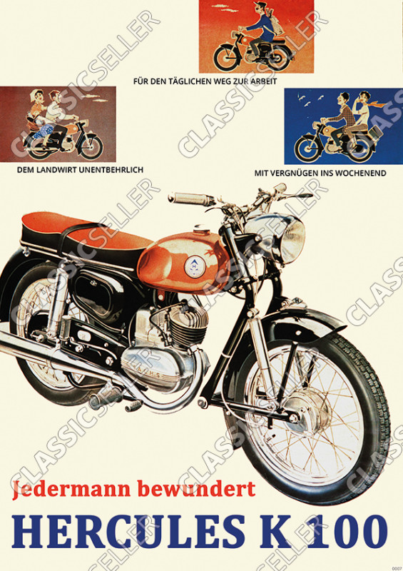 Hercules K 100 motorcycle Poster Picture
