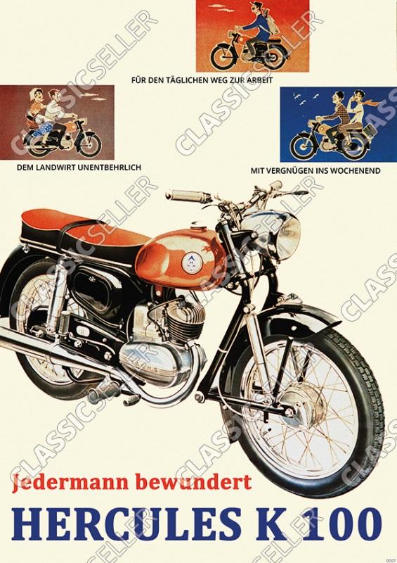 Hercules K 100 Motorrad Poster Plakat Bild