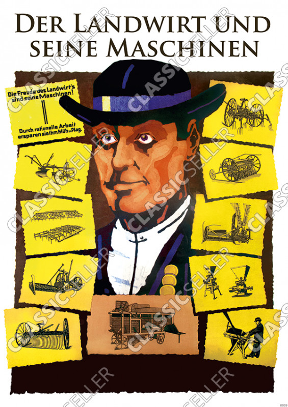 "Agriculture ""The farmer and his machines"" Poster Picture"