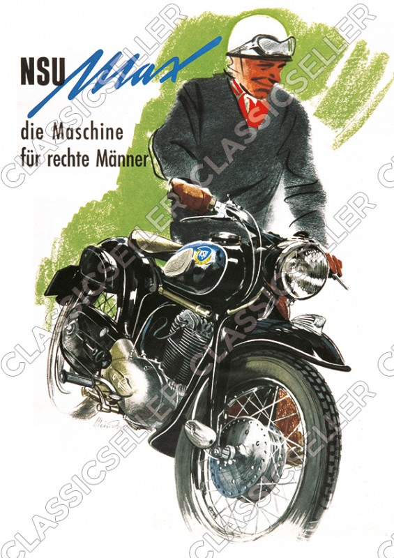"NSU Max ""The Machine for Right Men"" Motorcycle Poster Picture"