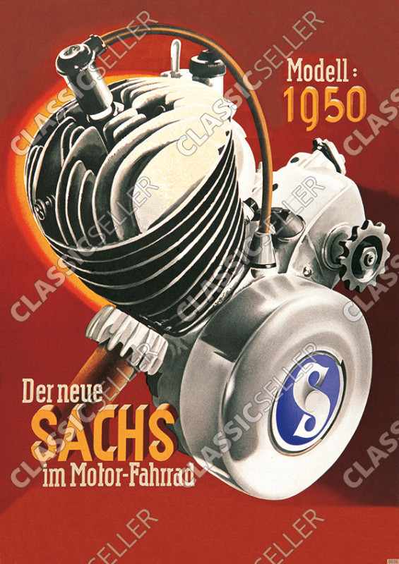 "Sachs ""The new Sachs in the motor-bike"" Motor 1950 Poster Picture"