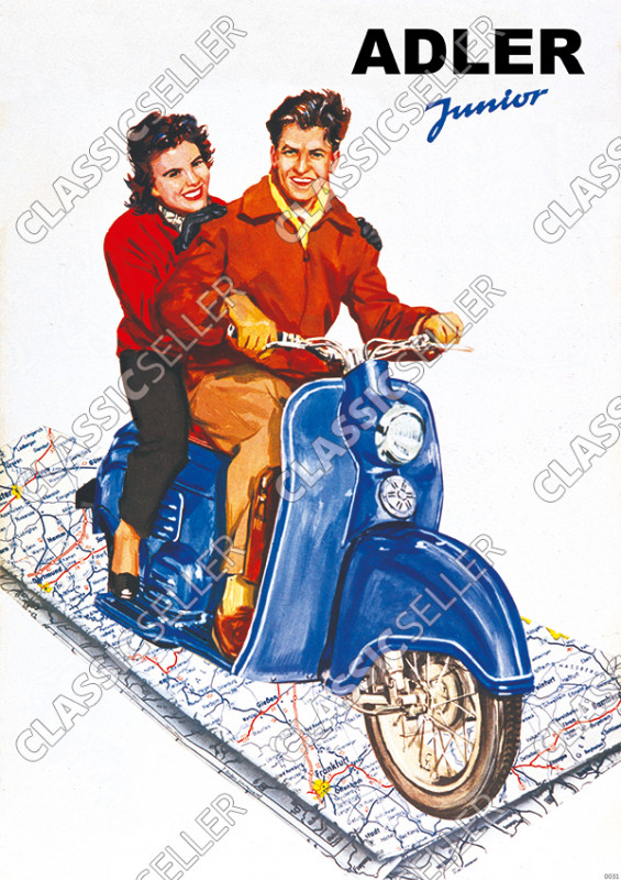 "Adler Junior Scooter ""Map"" Poster Picture"