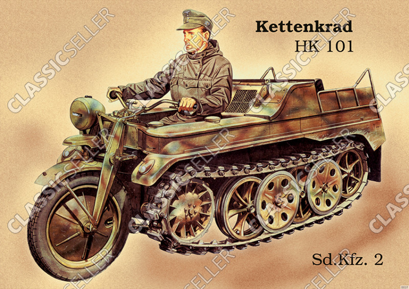 NSU Kettenkrad HK 101 Sd.Kfz 2 Poster Picture Wehrmacht