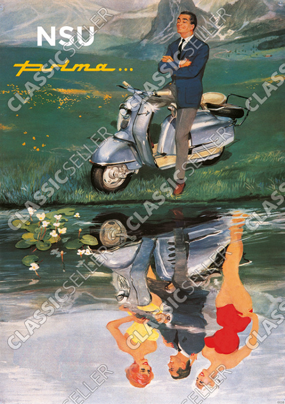 "NSU Prima scooter ""Dream at the lake"" Poster Picture"