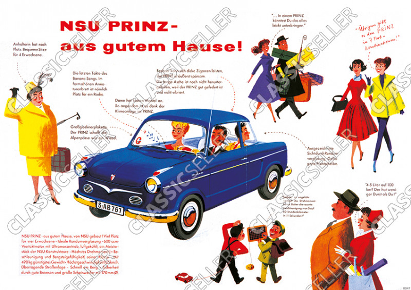 NSU Prince car car Poster Picture with sayings