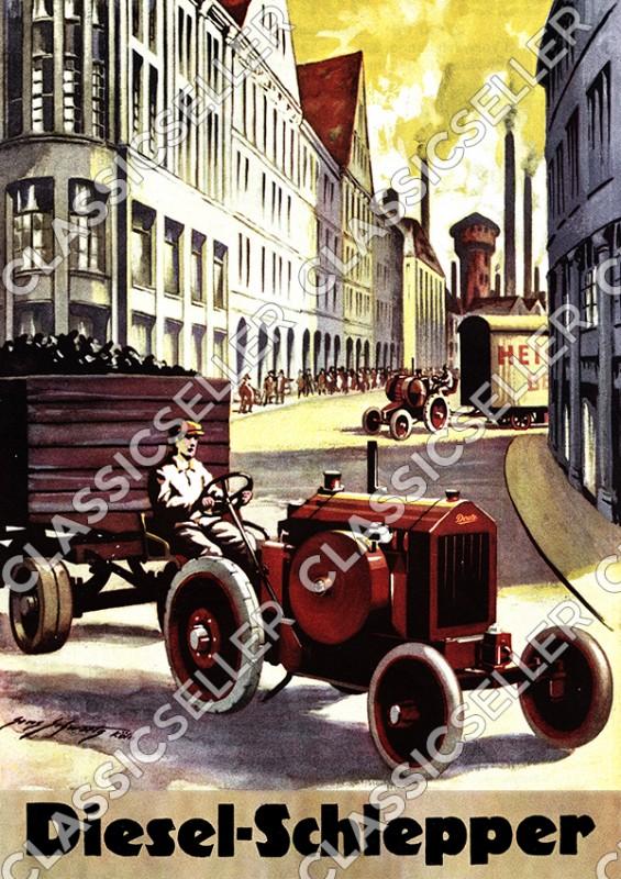 Deutz Traktor Dieselschlepper Diesel-Schlepper Vorkrieg Poster Plakat Bild