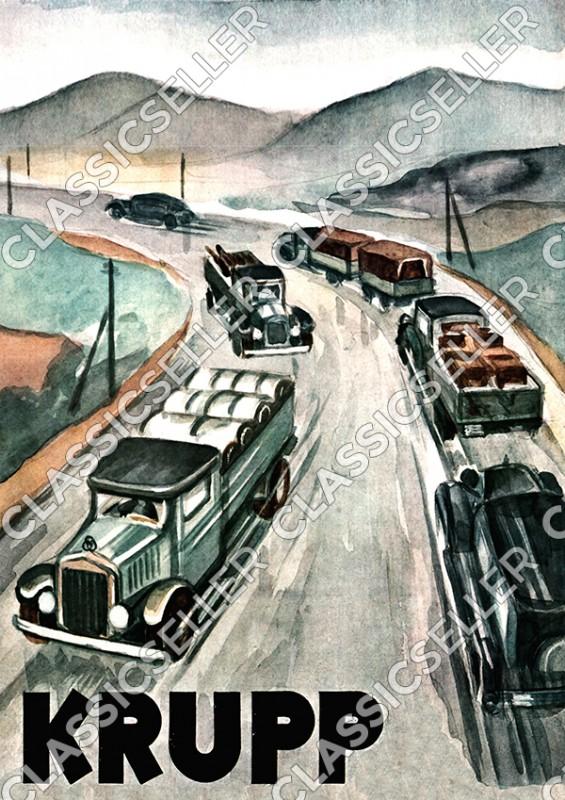 Krupp LKW Lastwagen Pritschenwagen Transporter Poster Plakat Bild