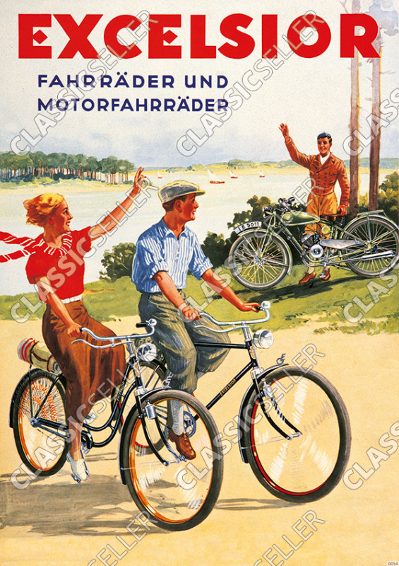 Excelsior bicycles and motorcycles bicycle Poster image