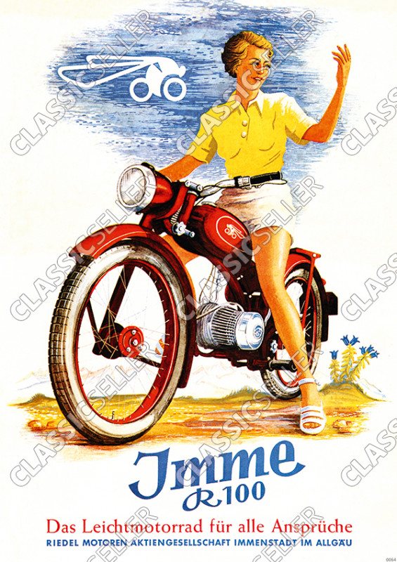 Imme R 100 Motorbike Poster Picture advertising advertisement decoration