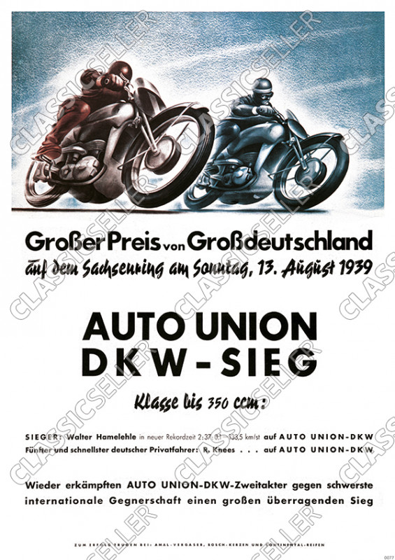 "Auto Union DKW victory ""Grand Prize of Greater Germany"" 1939 Poster"