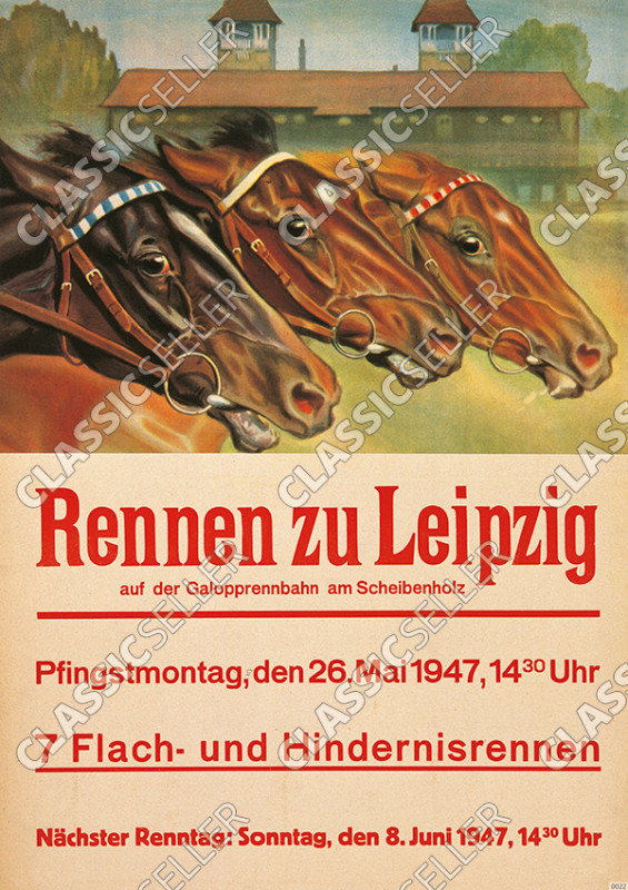 "horses ""Rennen zu Leipzig"" 1947 Poster Picture decoration event horse racing advertisement"