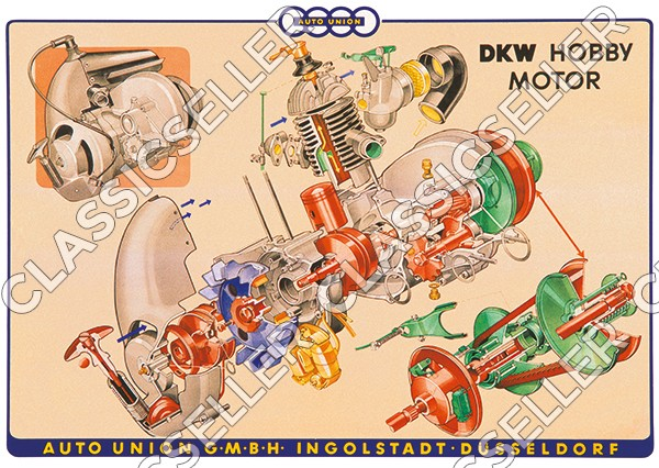 DKW Hobby Motorroller Roller Motor Poster Plakat Bild Explosionszeichnung Tafel
