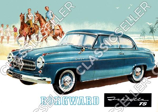 """Borgward Isabella TS """"Am Strand, mit Menschen und Pferden"""" Poster Plakat Bild"""