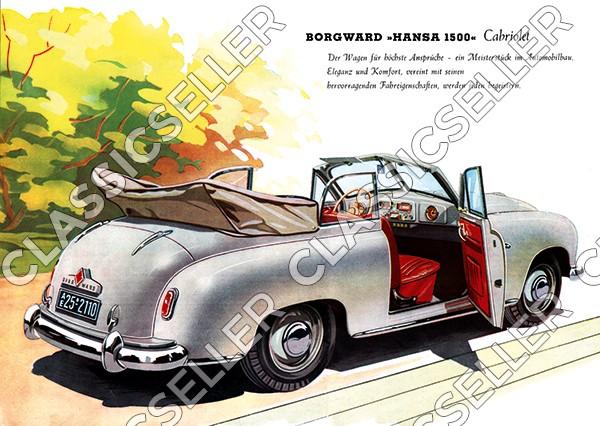 Borgward Hansa 1500 Cabriolet Poster Plakat Bild