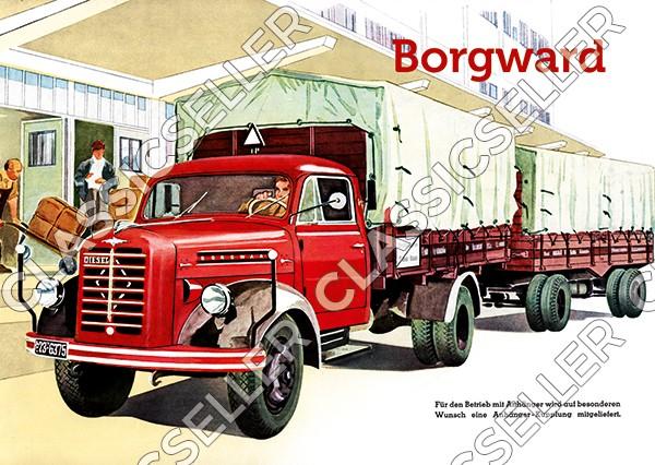 Borgward 1,5t To LKW mit Anhänger Diesel Lastwagen Poster Plakat Bild