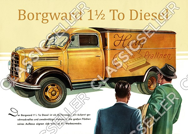 Borgward 1,5t LKW Diesel Kofferwagen Poster Plakat Bild