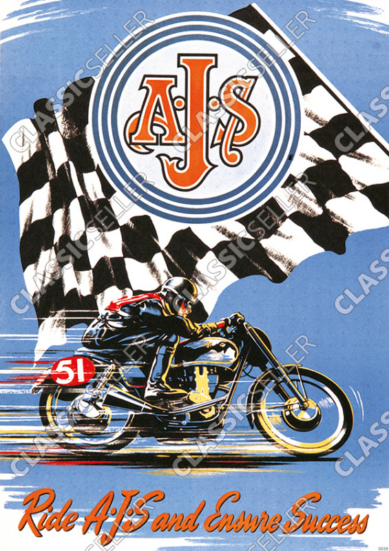 AJS Motorcycle Poster Picture art print
