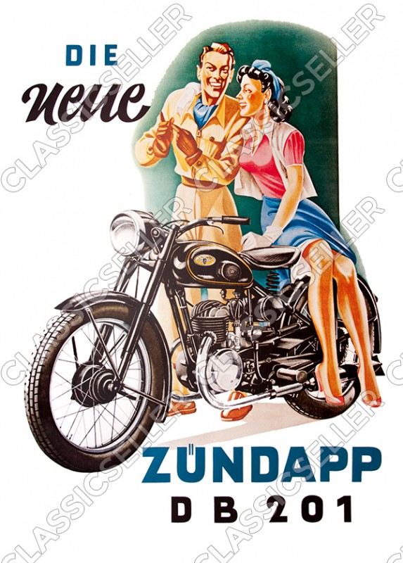 Zündapp DB 201 motorcycle Poster Picture