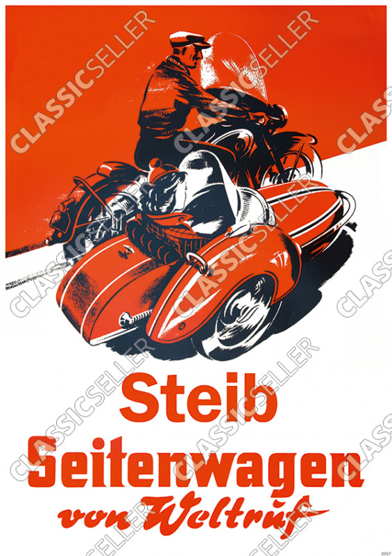 "Steib ""World-renowned sidecar"" Poster Picture advertising"