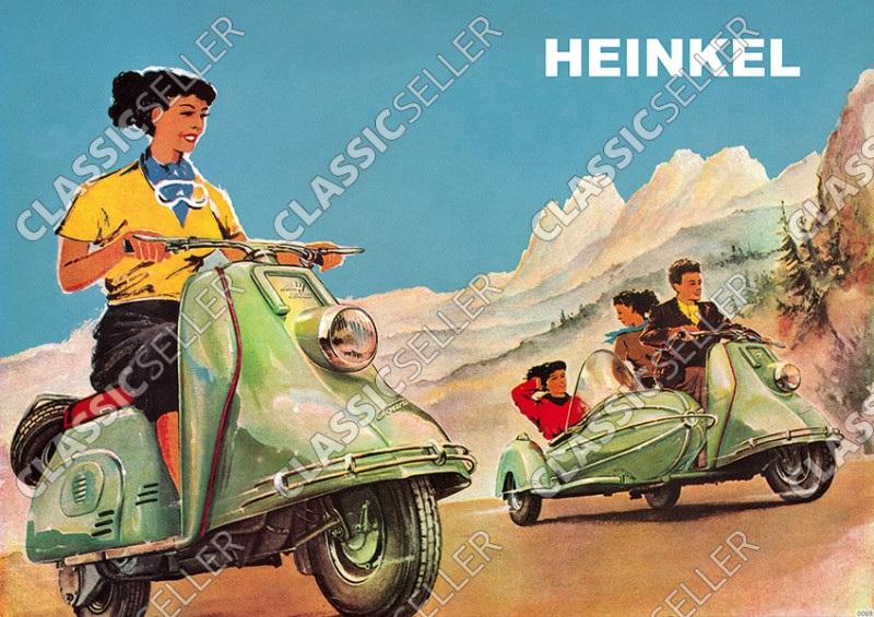 Heinkel Tourist Motorroller 101 102 103 A0 A1 Poster Plakat Bild