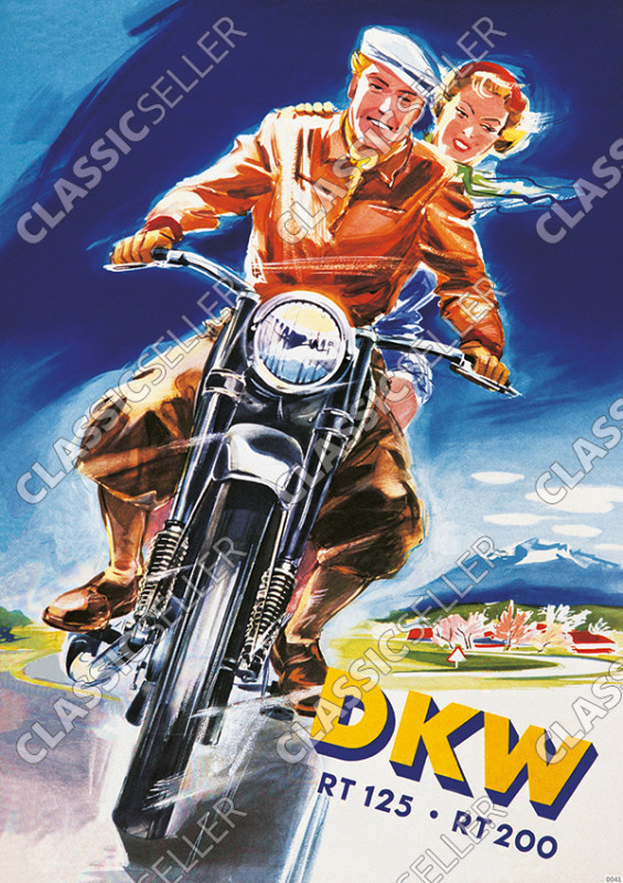 DKW RT 125 and RT 200 motorcycle Poster Picture