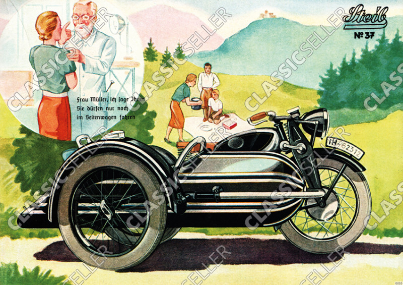 Steib sidecar poster with slogan poster Picture prewar motorcycle no. 37