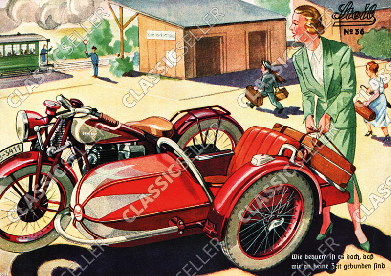 Steib sidecar poster with slogan poster Picture prewar motorcycle no. 36