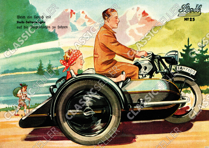 Steib sidecar poster with slogan poster Picture prewar motorcycle No. 25