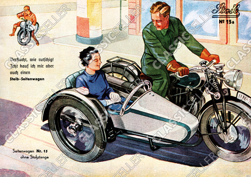 Steib sidecar poster with saying poster Picture prewar motorcycle No. 15a