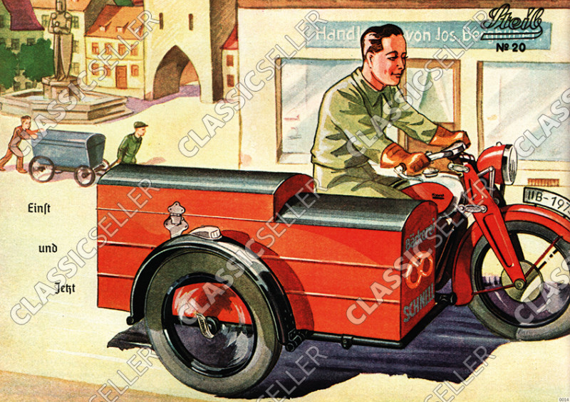 Steib sidecar poster with slogan poster Picture prewar motorcycle no. 20