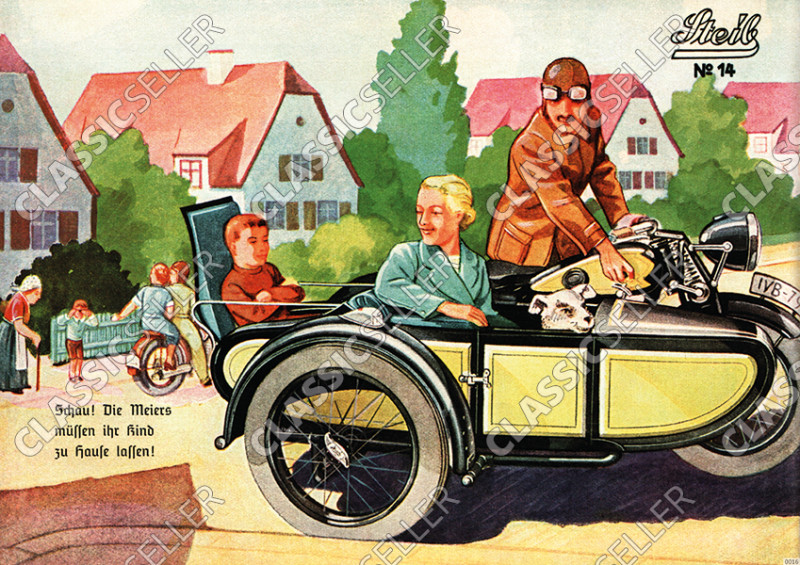 Steib sidecar poster with slogan poster Picture prewar motorcycle No. 14