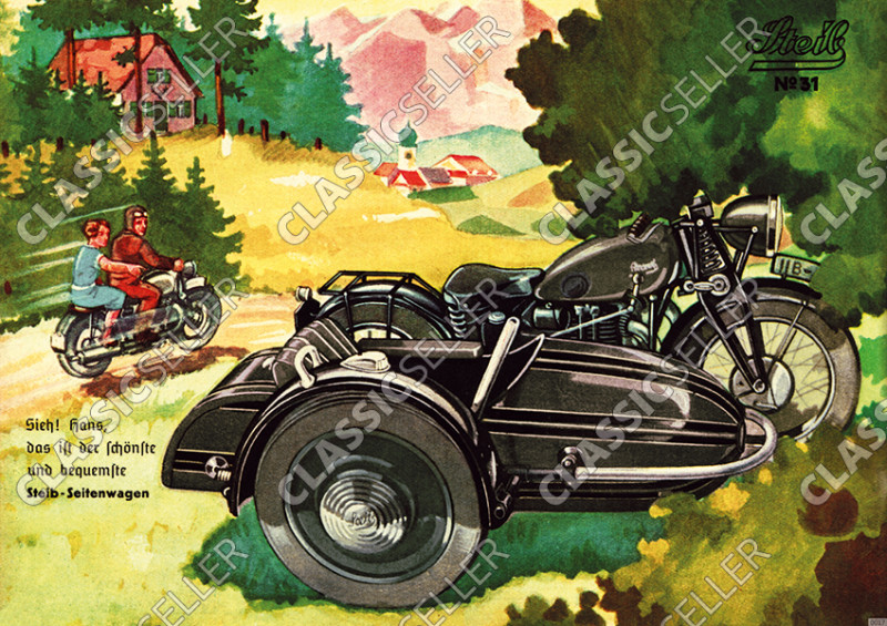 Steib sidecar poster with slogan poster Picture prewar motorcycle No. 31