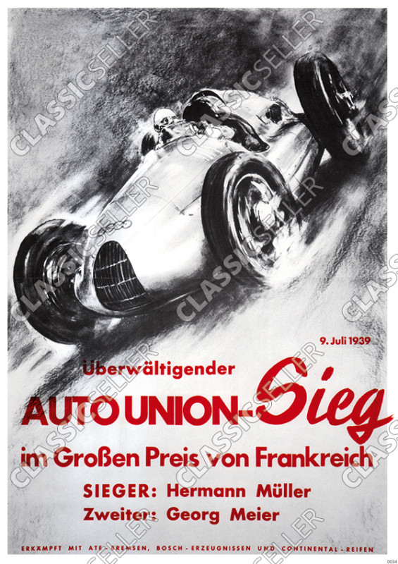 "Auto Union victory ""In the Grand Prix of France"" Poster 1939"