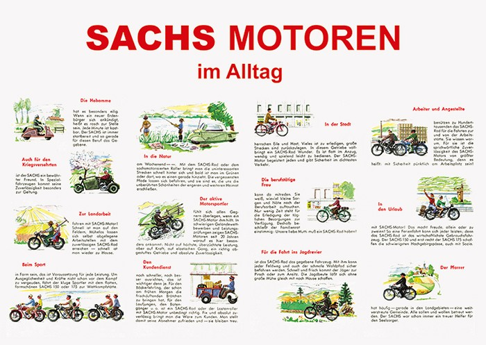 "Sachs ""Sachs engines in everyday life"" Wheel Moped Poster Picture"