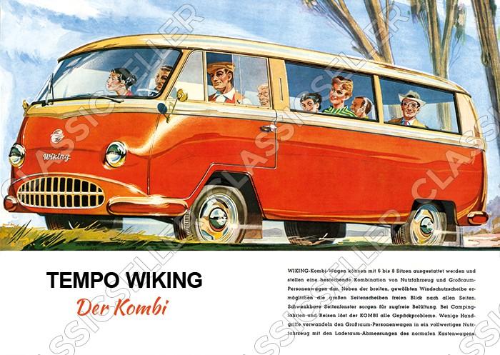 """Tempo Wiking """"Der Kombi"""" Wagen Auto PKW Poster Plakat Bild"""